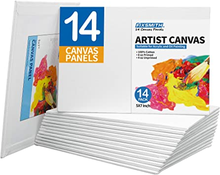 """Blank Cotton Canvas Panels 6/""""x6/"""" 24 Pack Mounted Art Boards Paint Supplies Craft"""