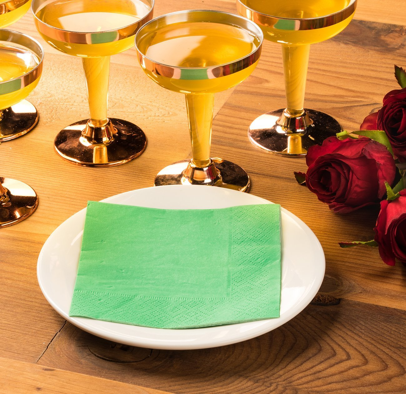Cocktail Napkins - 200-Pack Disposable Paper Napkins, 2-Ply, Kelly Green, 5 x 5 Inches Folded by Blue Panda (Image #3)