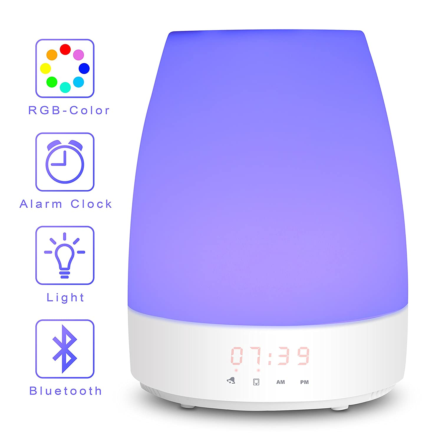 Wake Up Light-Sunrise Digital Alarm Clock, Bedroom Light Therapy-Snooze Function for Heavy Sleeper, Kids, 3 Night Light Brightness & 8 RGB Colors, 7 Nature Sounds & Bluetooth Speaker, Touch Control MaxKare
