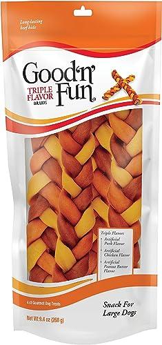 Good N Fun Triple Flavor Braids, Long Lasting Dog Chews