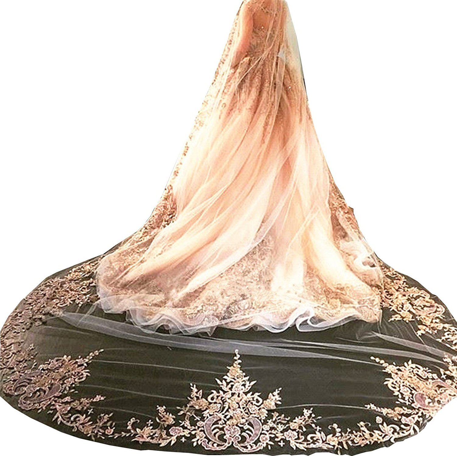 Aorme Cathedral Champagne Wedding Bridal Veils for Bride Lace Edge (Veil-3, Champagne)