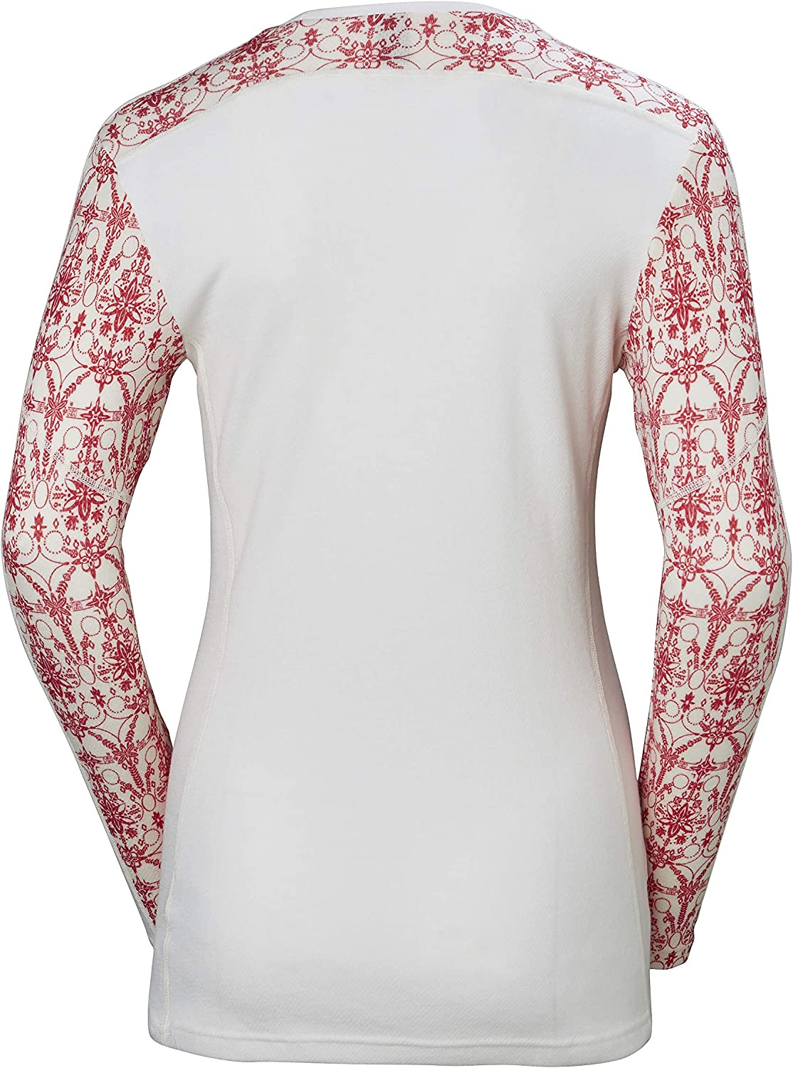 Helly-Hansen Womens Hh LIFA Merino Wool Graphic Print 2-Layer Crewneck Thermal Baselayer Top 110 Flag Red / Frost Print