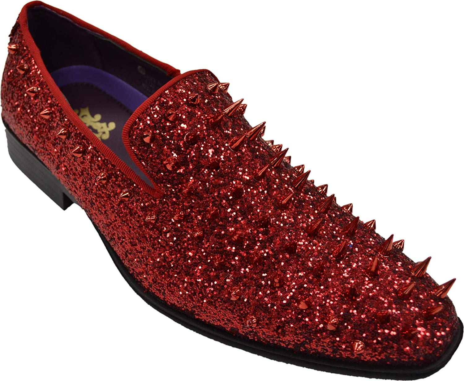 AFTER MIDNIGHT Mens Glitter Loafers Red