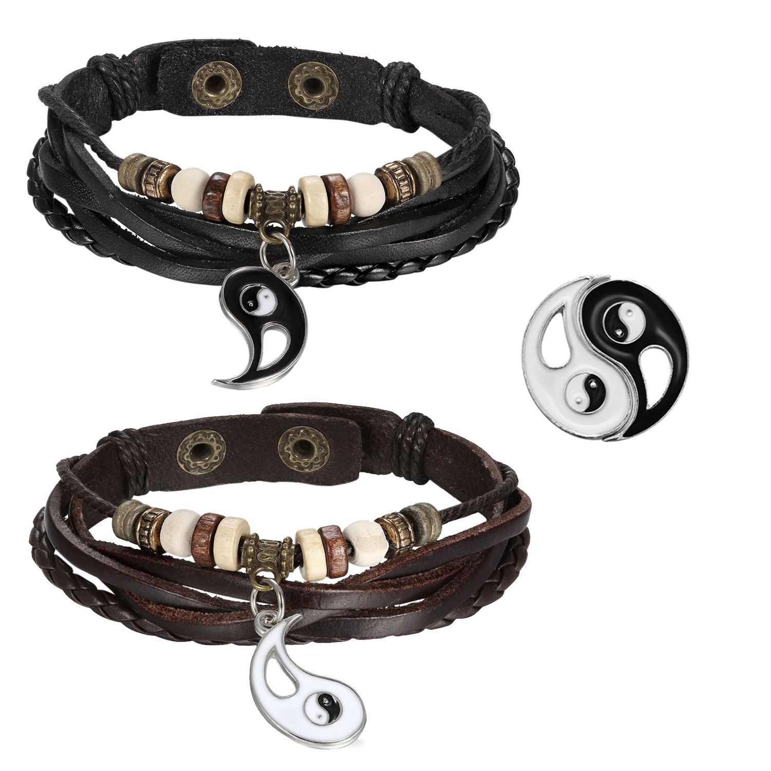 2pcs Mens Womens Adjustable Vintage Leather Braided Yin Yang Pendant Beads Charm Link Bracelet for Couples,Black Brown Oidea O0070071-CA