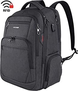 KROSER Travel Laptop Backpack 17.3 Inch Large Computer Backpack Water-Repellent School Daypack with USB Charging Port & Headphone Interface RFID Pockets for Work/Business/College/Men/Women