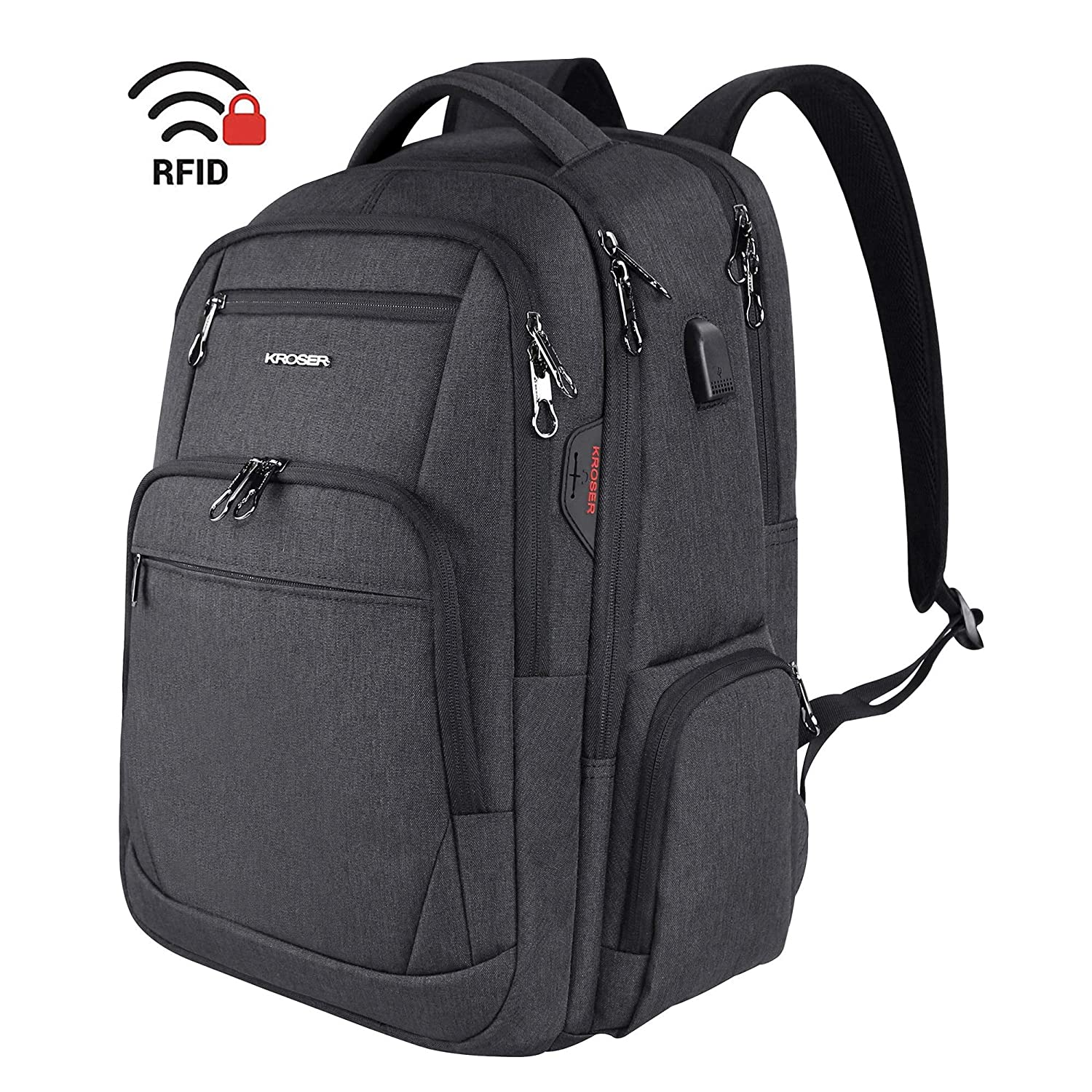 KROSER Travel Laptop Backpack 15.6-17.3 Inch Large Computer Backpack Water-Repellent School Daypack with USB Charging Port /& Headphone Interface RFID Pockets for Work//Business//College//Men//Women