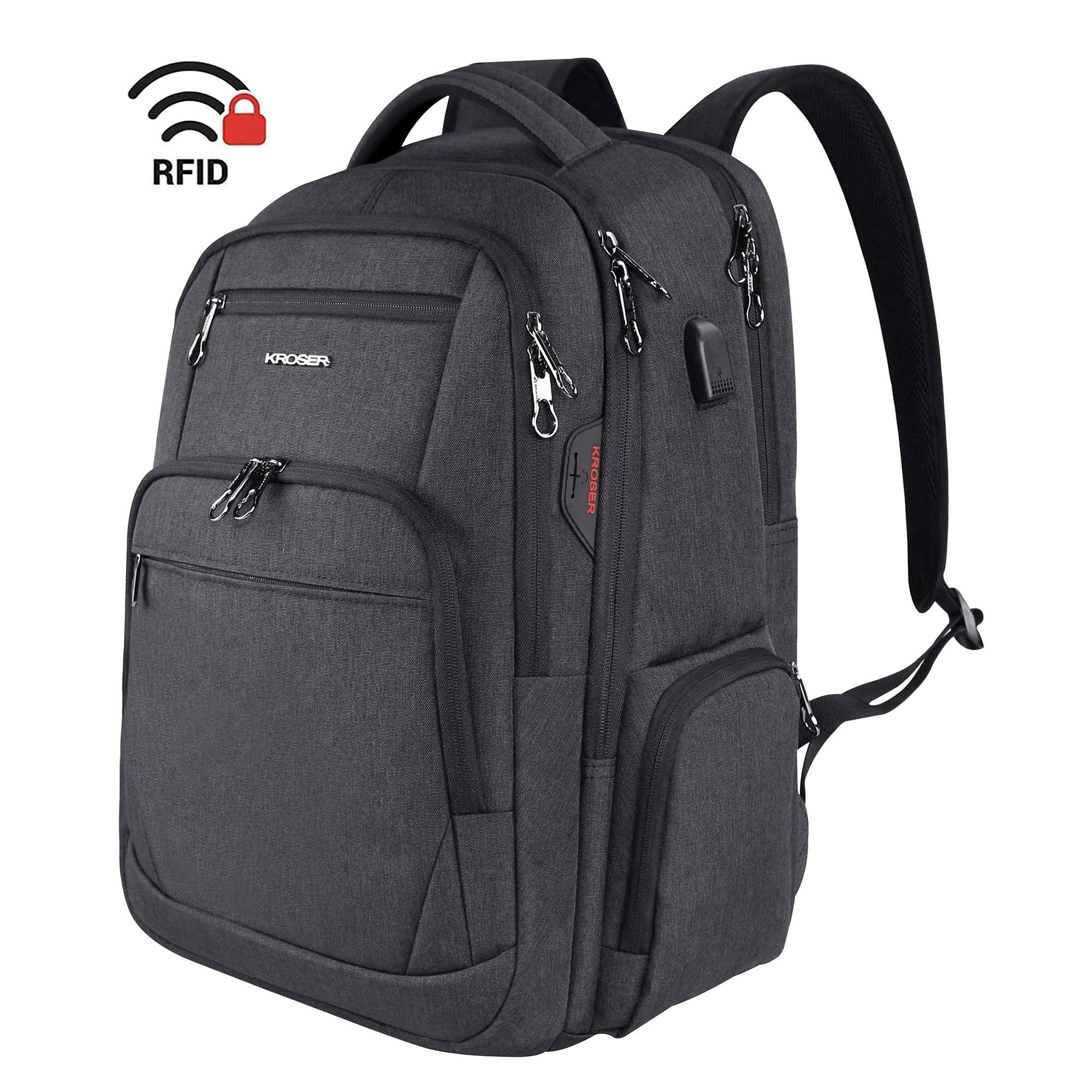 Travel Laptop Backpack 17.3 Inch Large Computer Backpack Water-Repellent School Daypack with USB Charging Port & Headphone Interface RFID Pockets for Work/Business/College/Men/Women