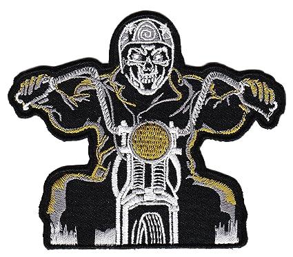 Biker Chopper Ghostrider Totenkopf Motorrad Aufnäher Bügelbild Aufbügler Iron on Patches Applikation Tattoo