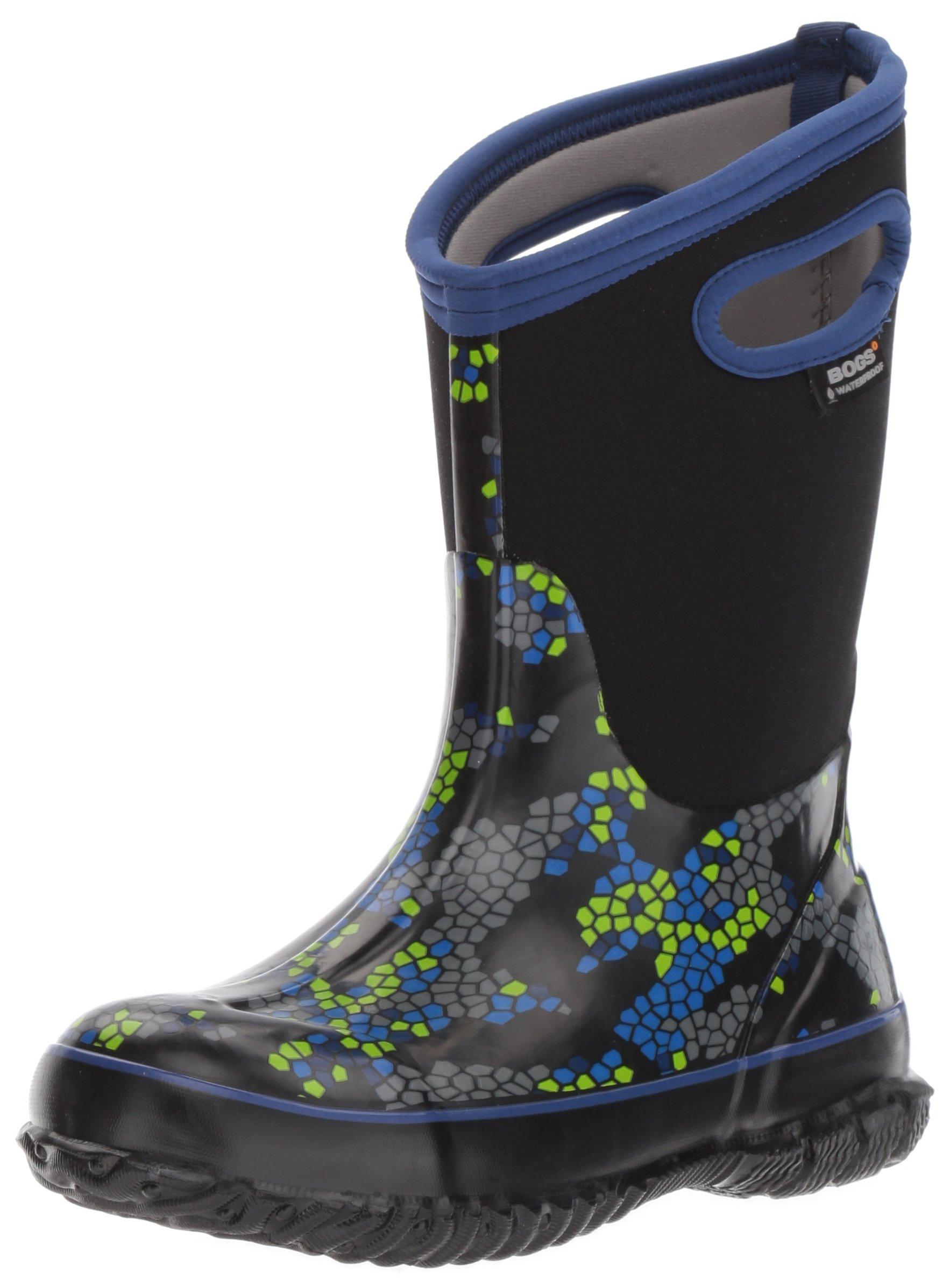 Bogs Classic High Waterproof Insulated Rubber Neoprene Rain Boot Snow, Axel Print/Black/Multi, 4 M US Big Kid