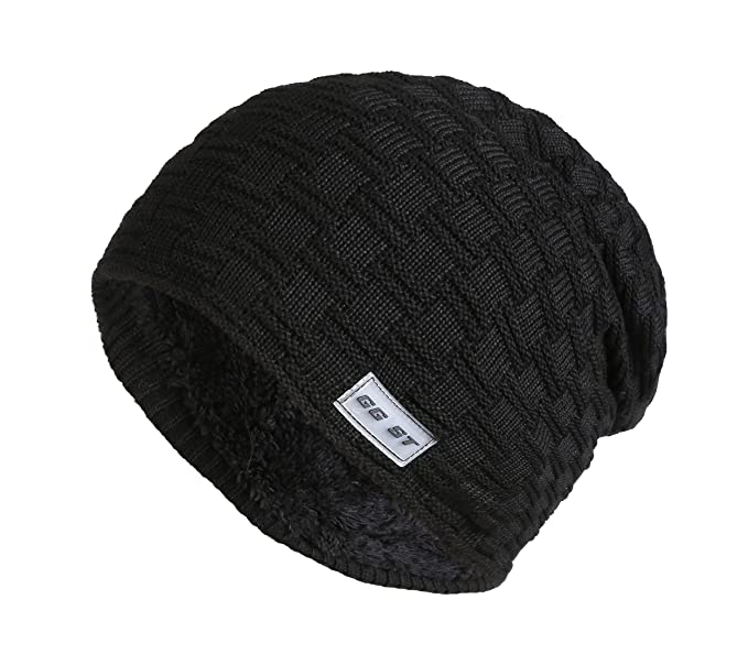 39caf3a913d Image Unavailable. Image not available for. Color  GG ST Fleece Lined Beanie  Hat Winter Warm Soft Knit Thick Ski Skull Cap for Mens