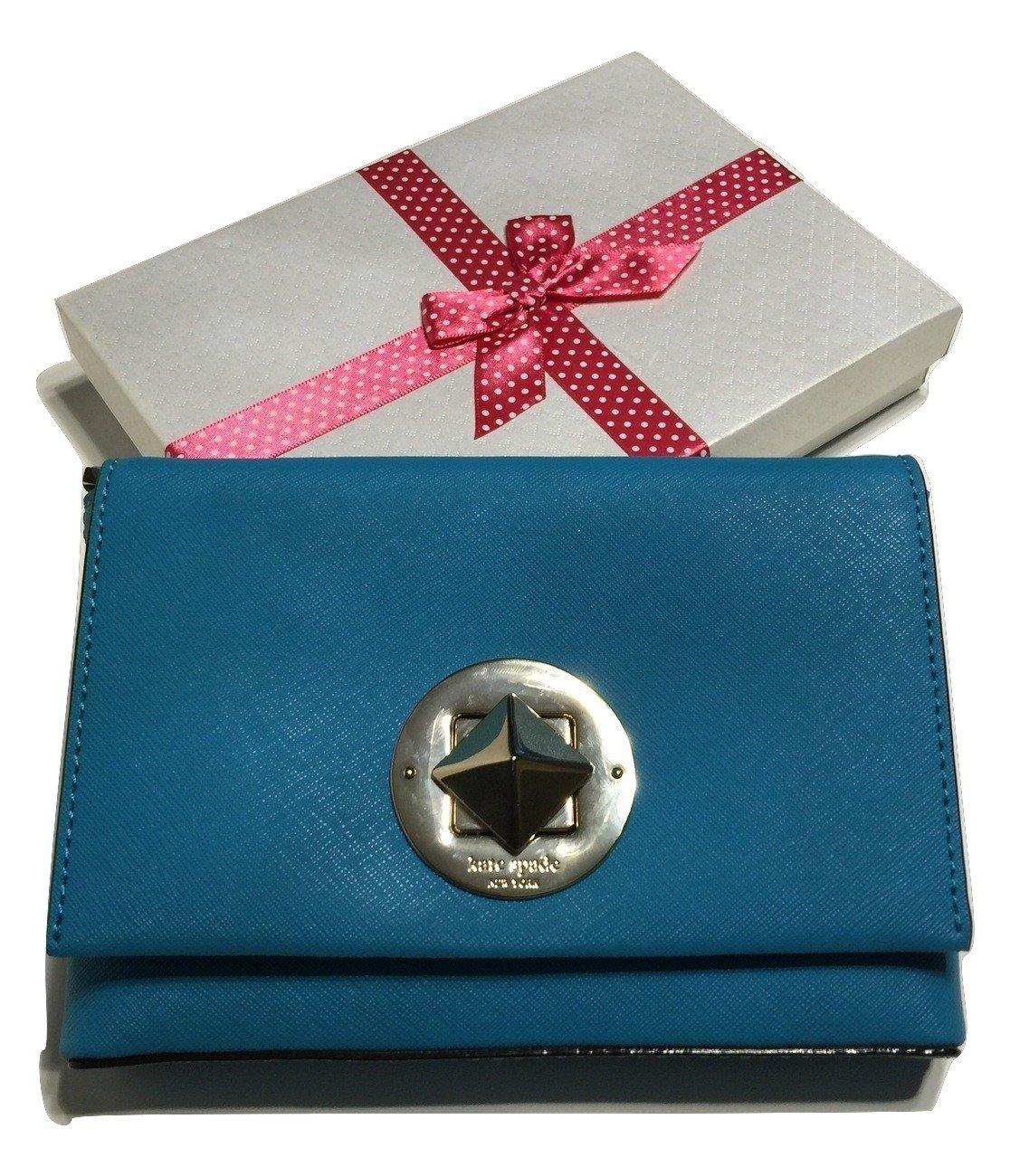 Kate Spade Newbury Lane Sally Crossbody Saffiano Leather WKRU3430 with Gift Box (Neon Turquoise)