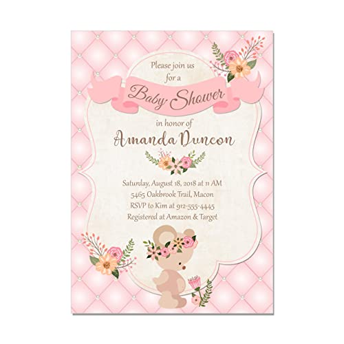 Amazon Com Teddy Bear Baby Girl Shower Invitations Base Price Is