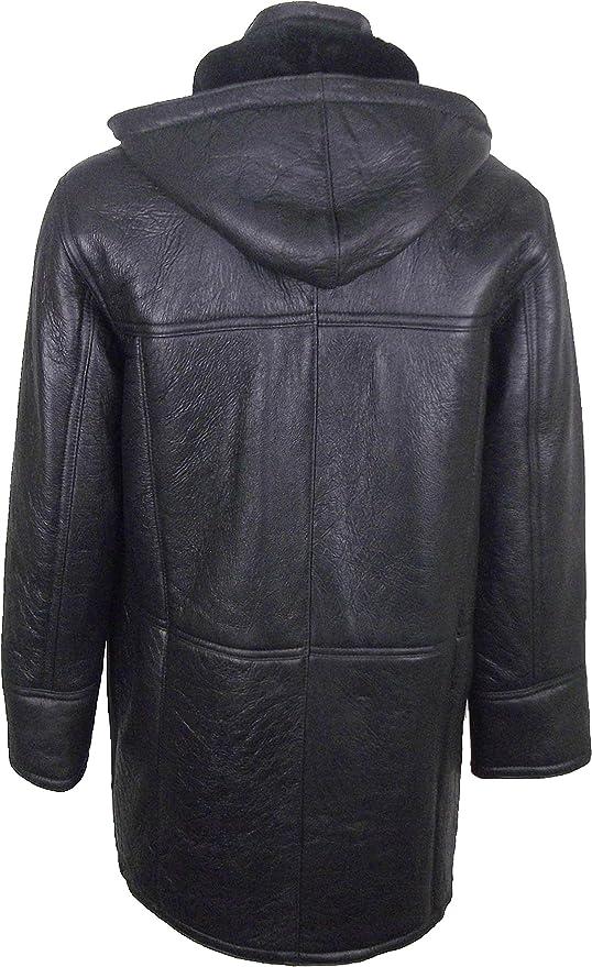 UNICORN Männer Echte Leder Jacke mit Kapuze Schaffell Dufflecoat - Echtepelz  Mantel - Schwarz mit schwarzem Fell #CK: Amazon.de: Bekleidung