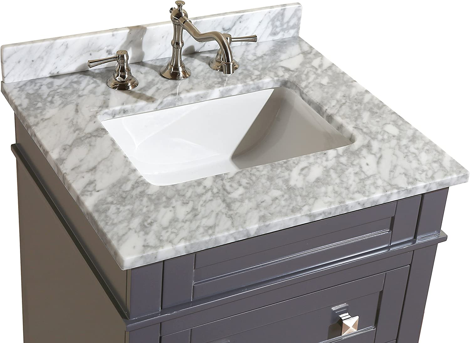 Amazon Com Eleanor 24 Inch Bathroom Vanity Carrara Charcoal Gray Includes Charcoal Gray Cabinet With Authentic Italian Carrara Marble Countertop And White Ceramic Sink Home Improvement