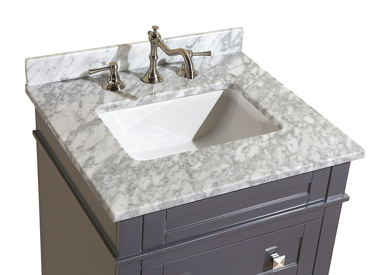 Kitchen Bath Collection KBC-L24GYCARR Eleanor Bathroom Vanity with ...