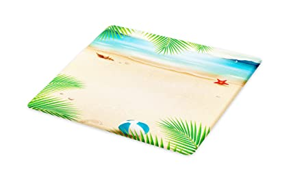 1e552e2710236 Lunarable Beach Cutting Board, Seashore with Starfish Seashell Palm Tree  Summer Ocean Illustration, Decorative Tempered Glass Cutting and Serving ...