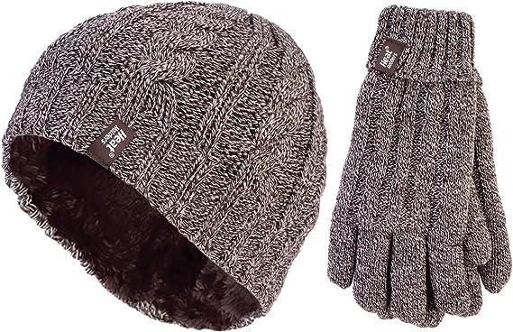 Hommes Femmes Thermique Bonnet Gants Chaleur Machine Winter Woolen isolé...