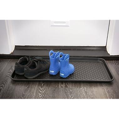 Ottomanson TRY400-30X15 Multi-Purpose Indoor & Outdoor Waterproof Tray, 15  x 30 , Black