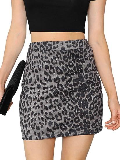 bb803395a5 SheIn Women's Leopard Print Elastic Waist Bodycon Pencil Skirts X-Small  Multicolor