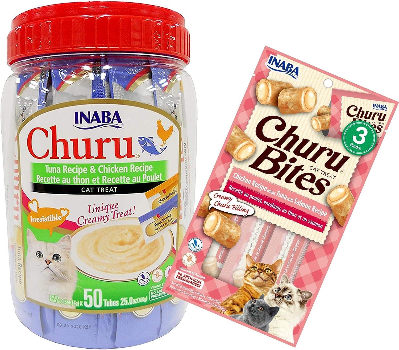 INABA Churu Lickable Creamy Purée Cat Treats Tuna Recipe and Chicken Recipe 50 Tube Canister Bundle with Churu Bites Tuna with Salmon 3 Pack