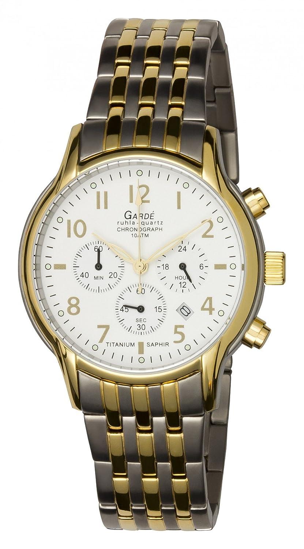 GARDE Herren-Armbanduhr Elegant Chronograph Titan-Armband silber grau gold Quarz-Uhr Ziffernblatt silber weiß UGA