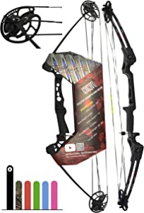 "Southwest Archery Ninja Kids Youth Compound Bow Kit - Fully Adjustable 20-29"" Draw 10-20LB Pull - 55% Let Off - Pre-Installed Arrow Rest - Finger Saver String"