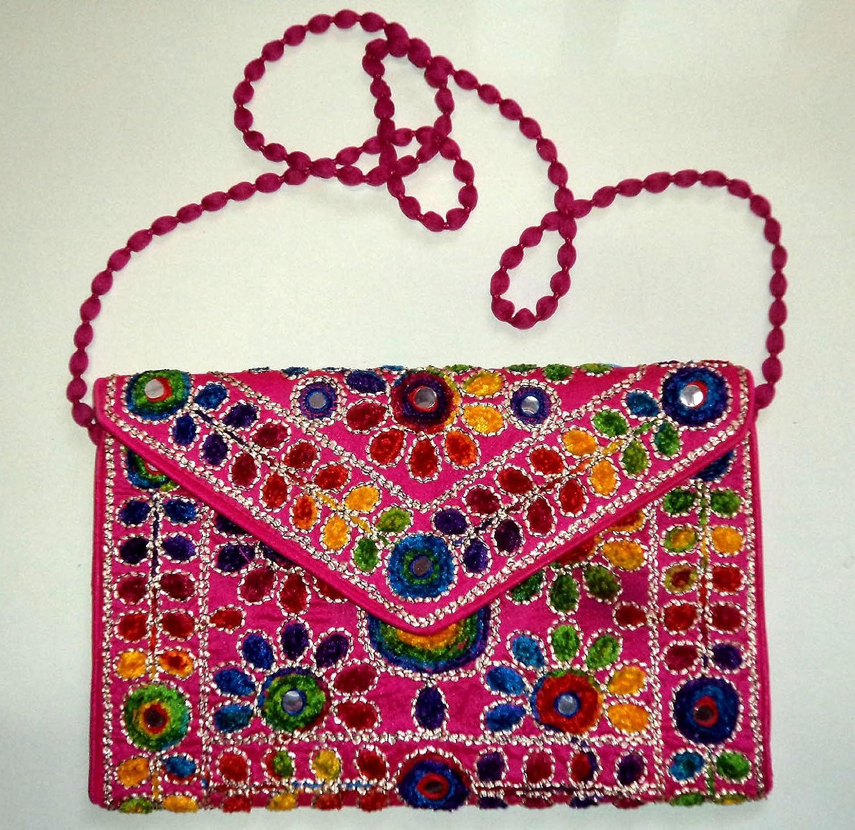 Indian Ethnic Gypsy Clutch Handmade Kutchi Work Embroidery Clutch Bag Purse Boho Hobo