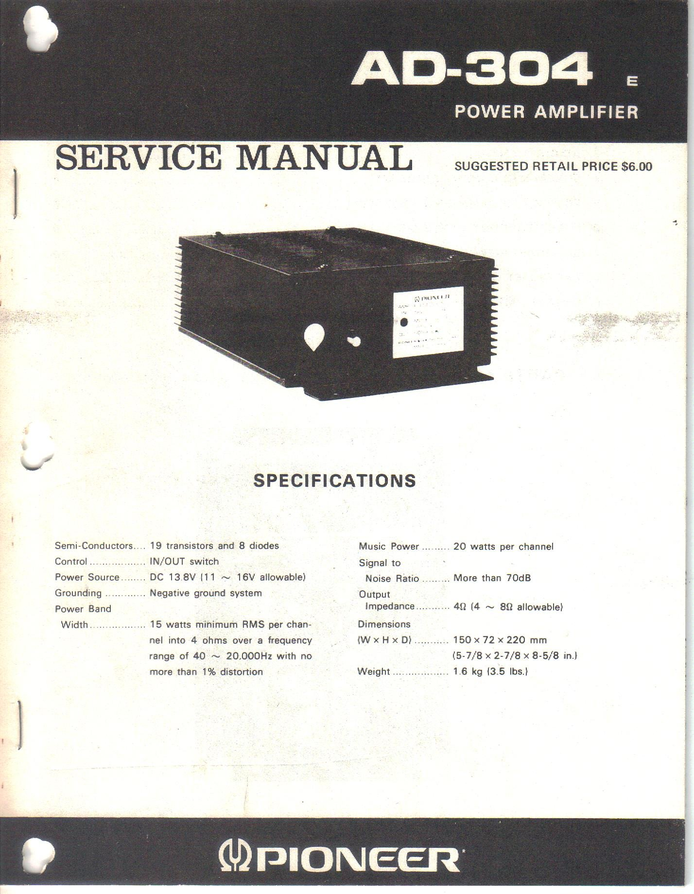 40 Range Schematic Wiring Diagram Library Pioneer Electronics Ad 304 Power Amplifier Service Manual Parts List