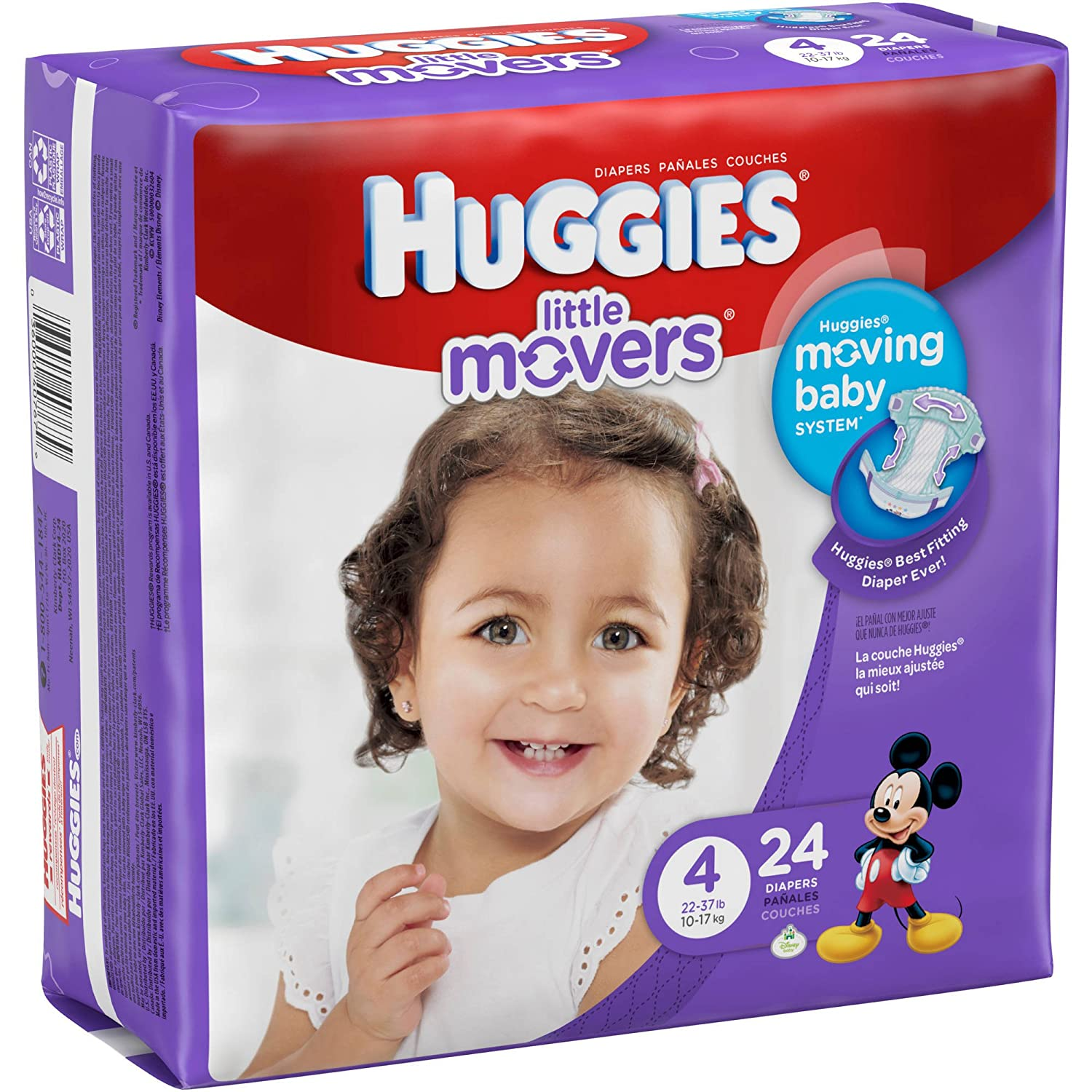 Amazon.com: Branded HUGGIES Little Movers Diapers, Size 4, 24 Diapers, Weight 22-37lbs - Branded Diapers with fast delivery (Soft and Comfortable for ...