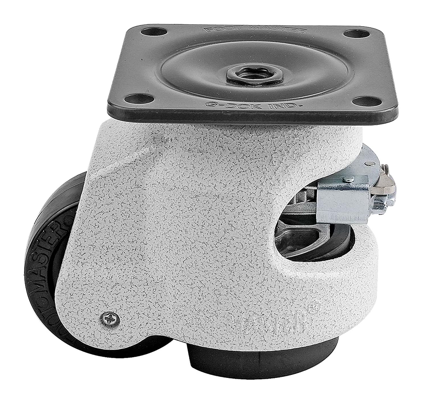 FOOTMASTER GDR-80F Nylon Wheel and NBR Pad Ratcheting Leveling Caster, 1100 lbs, Top Plate 3 17/32 x 3 17/32, Bolt Holes 2 3/4 x 2 3/4, Ivory by FOOTMASTER B00I2JHAR2