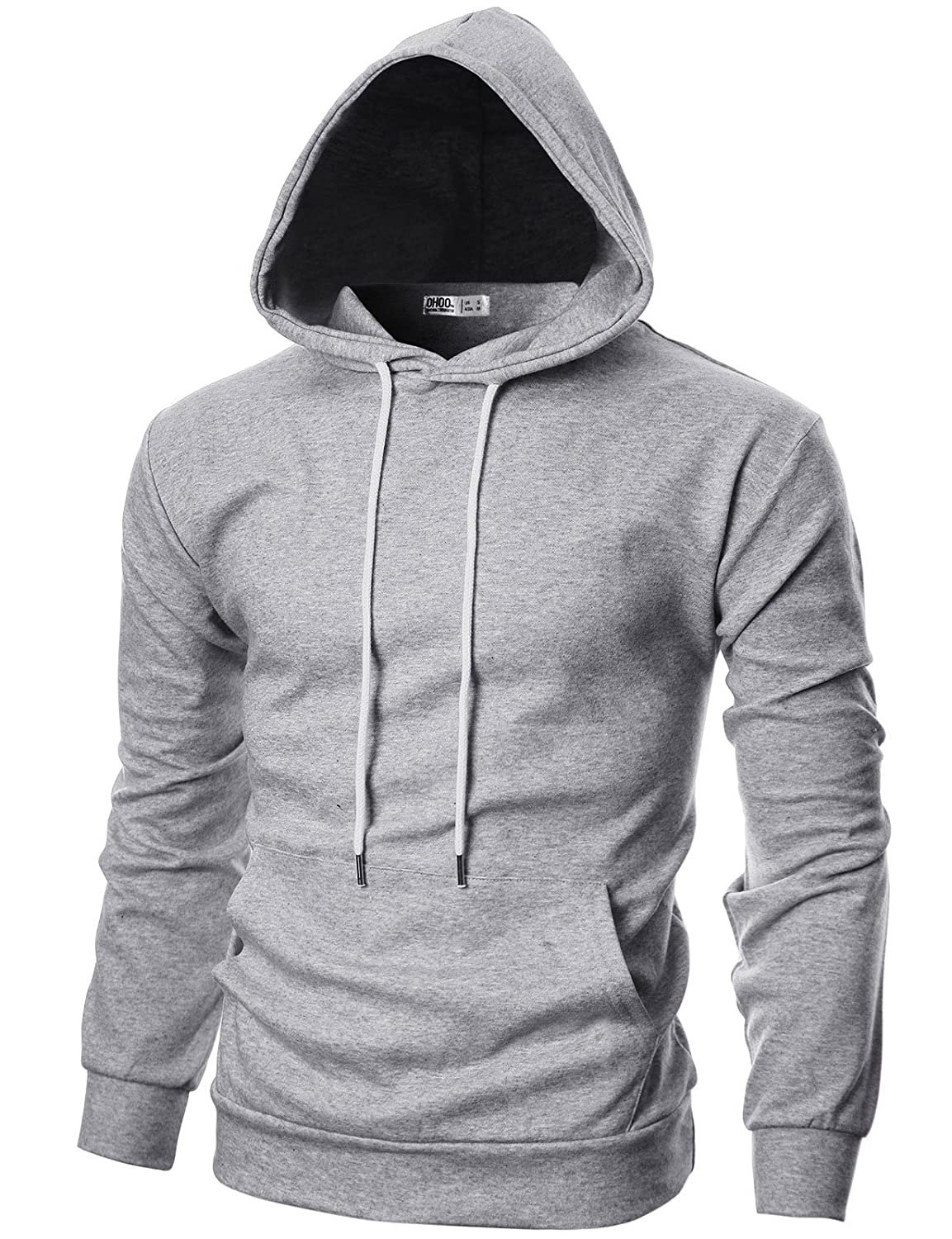 Ohoo Mens Slim Fit Long Sleeve Lightweight Hoodie with Kanga Pocket