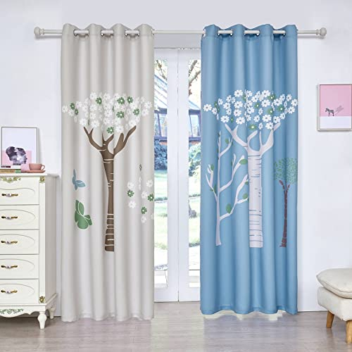 Fassbel 2 Panel Set Digital Printed Blackout Window Curtains Thermal Insulated for Bedroom Living Room Dining Room Kids Youth Room Window Drapes W54 L84, Tress in Blue and White Background
