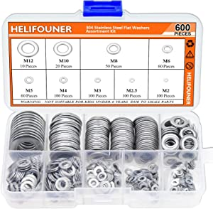 HELIFOUNER 600 Pieces 9 Sizes 304 Stainless Steel Flat Washers Assortment Kit (M2 M2.5 M3 M4 M5 M6 M8 M10 M12)