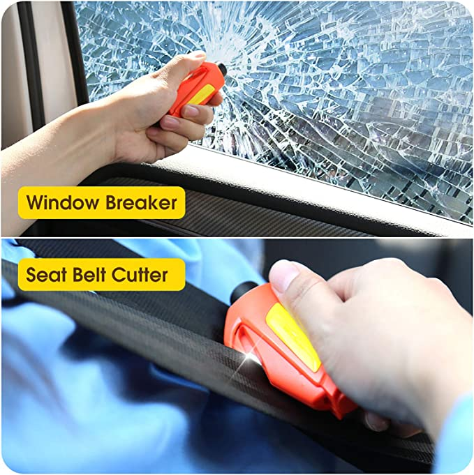 Safety Car Escape Tool Blue Portable Glass Breaker Keychain for Land /& Underwater Emergency BokWin 4Pcs Window Breaker Seatbelt Cutter
