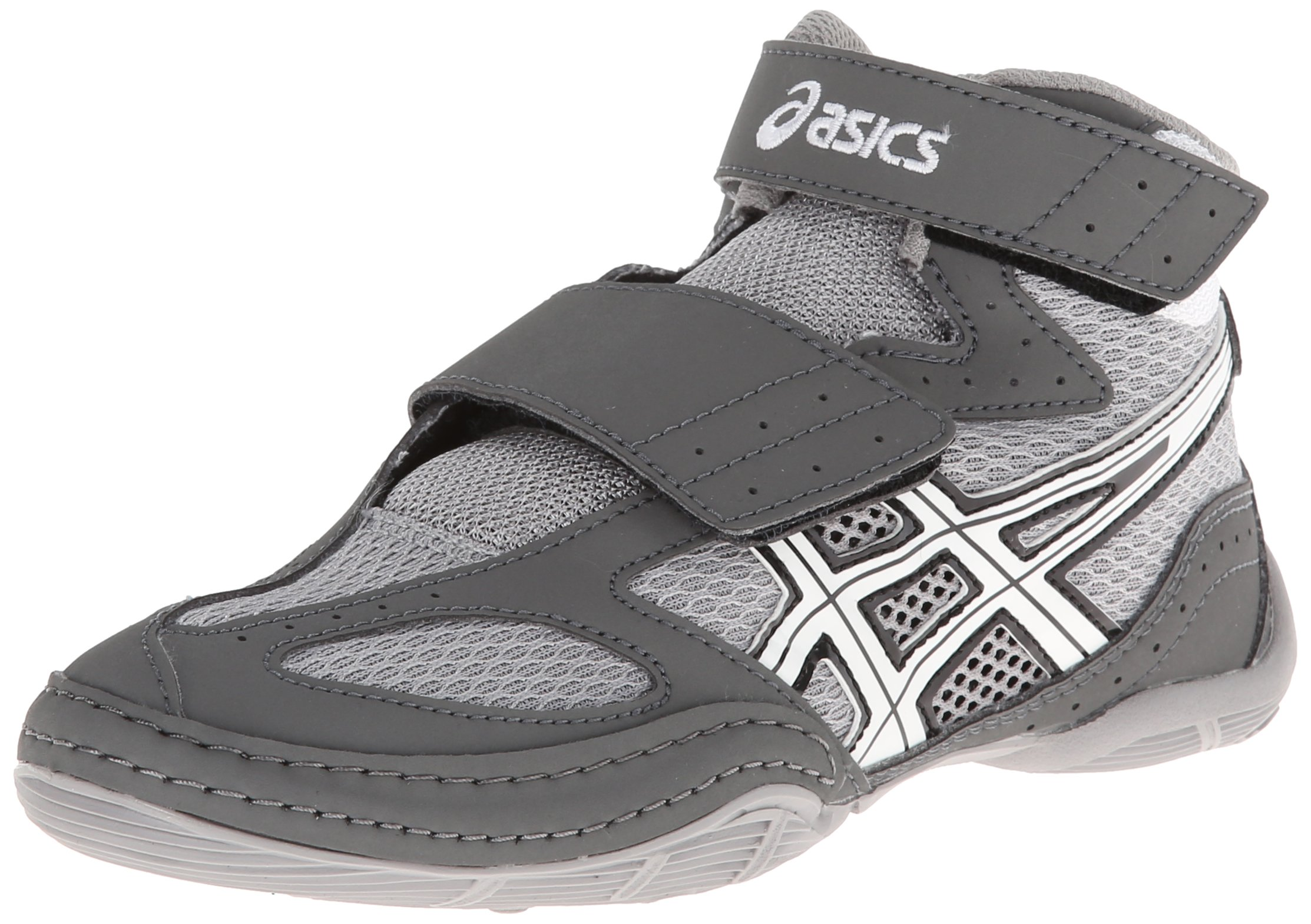 ASICS Matflex 4 GS Wrestling Shoe (Toddler/Little Kid/Big Kid), Granite/White/Black, 12 M US Little Kid