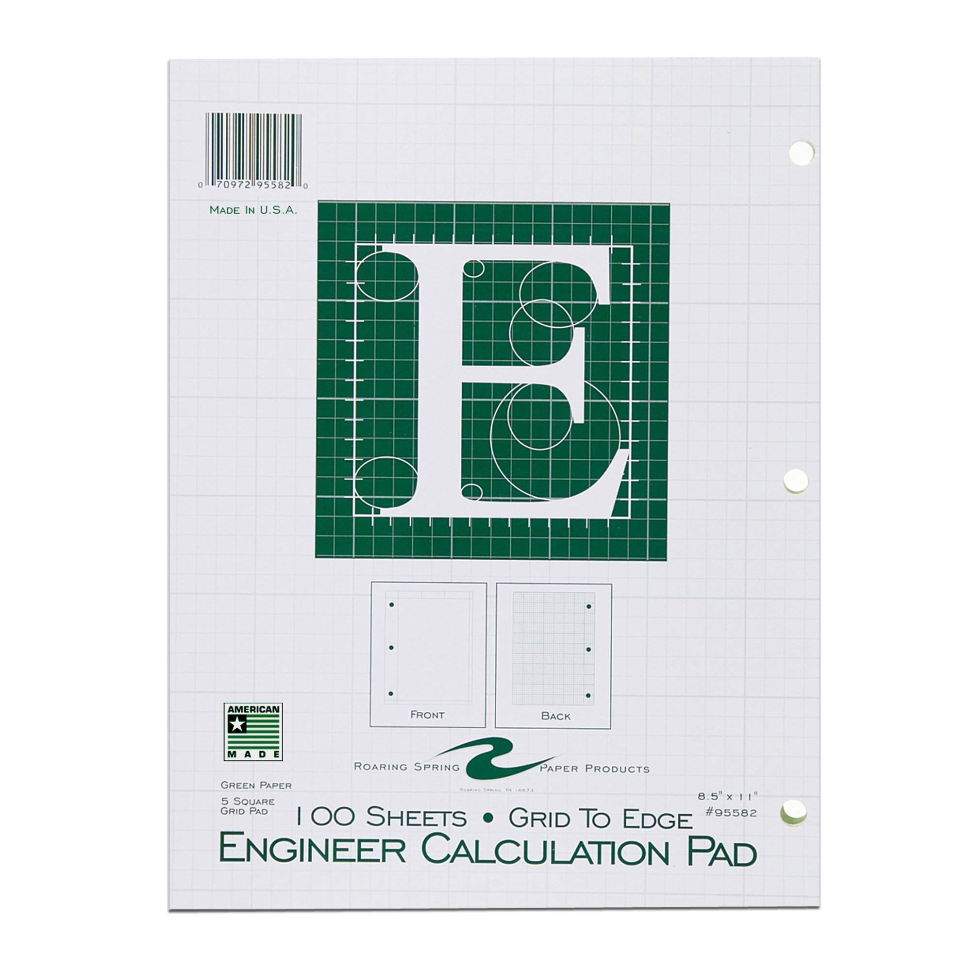 Roaring Spring Engineering Pad, 8.5'' x 11'', Green, 100 sheets, Grid-to-Edge