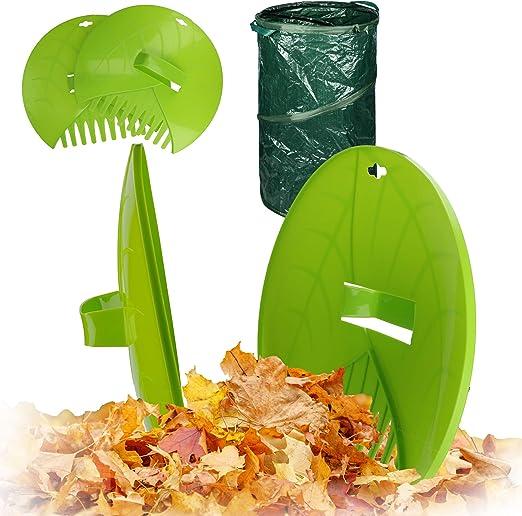 Kinzo – Juego de pinzas para hojas con bolsa de desechos de jardín ...