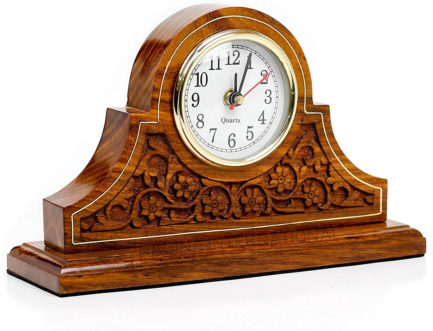 Nagina International Tambour Style Hand Carved Rosewood Design Elegant Fireplace Mantel Living Room Office Decor Clock   Quarts Lovely Home Essential   Corporate Gifts Decor