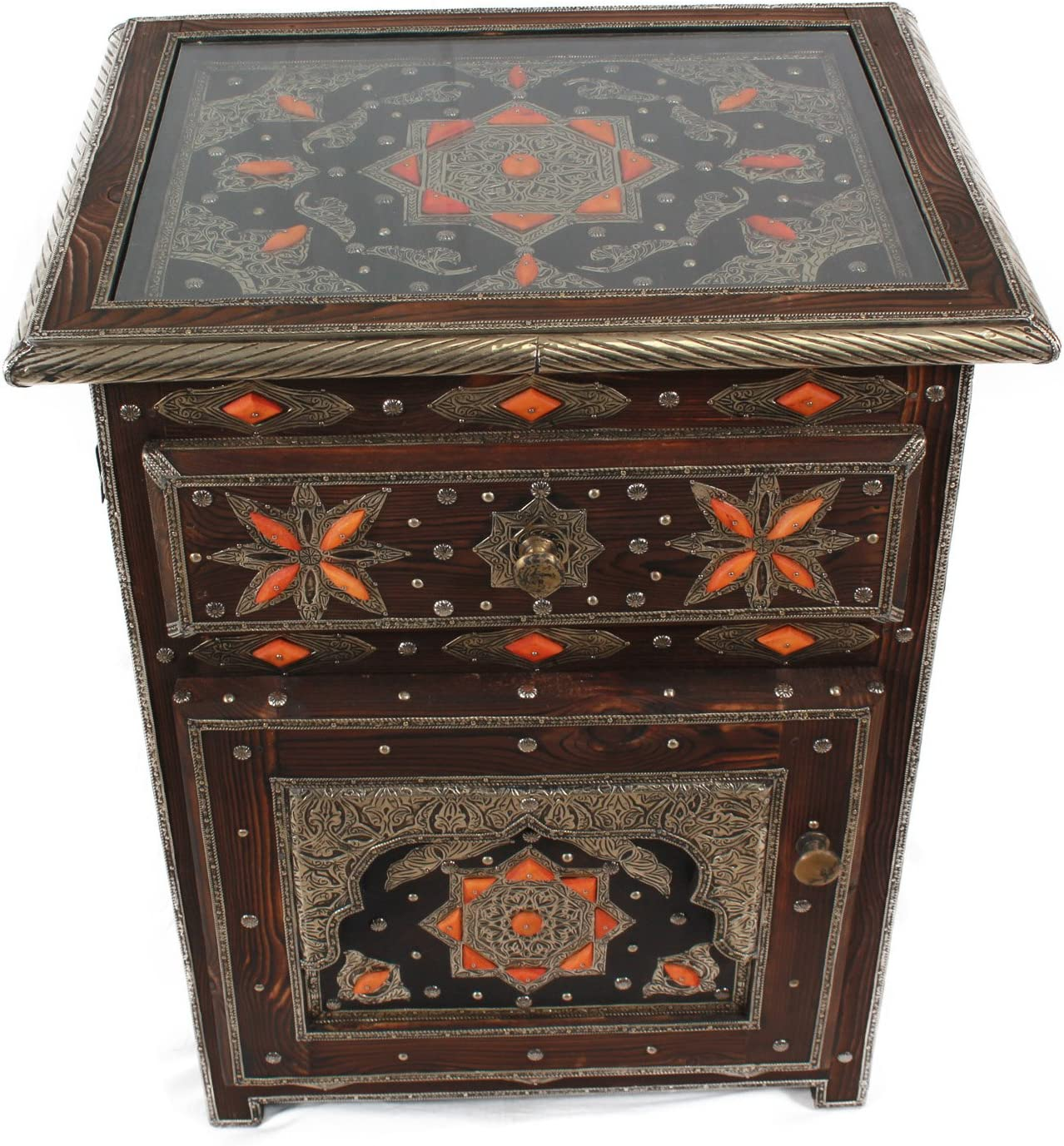 Casa Moro MO4001 Mesita de noche de madera maciza Khalifa Bollywood estilo oriental acento muebles compartimiento de almacenamiento 1 caj/ón 1 puerta y adornos y manijas de metal