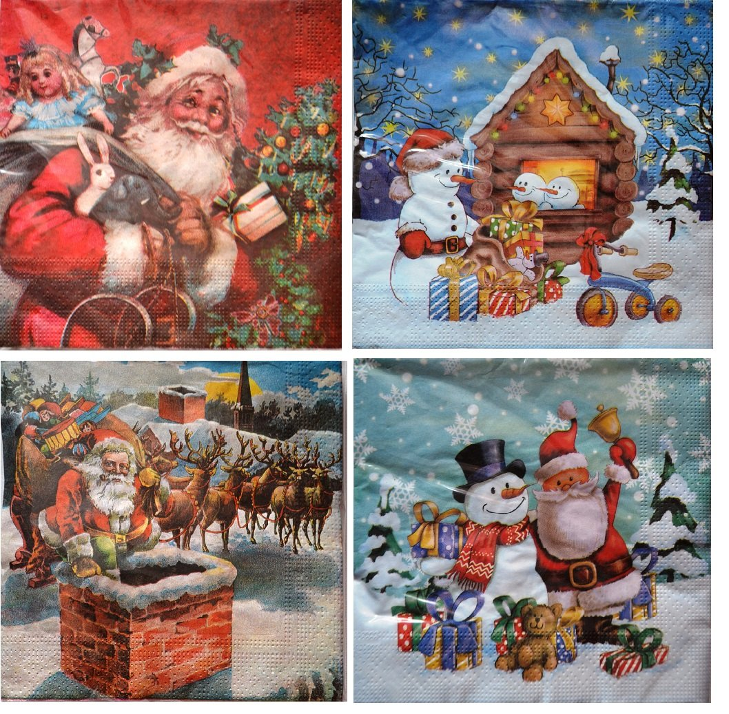 4 Vintage Christmas Paper Napkins Serviettes Craft Supplies Decoupage Napkins...