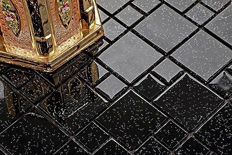 Vetro mosaico in misure nero opaco con glitter multicolore