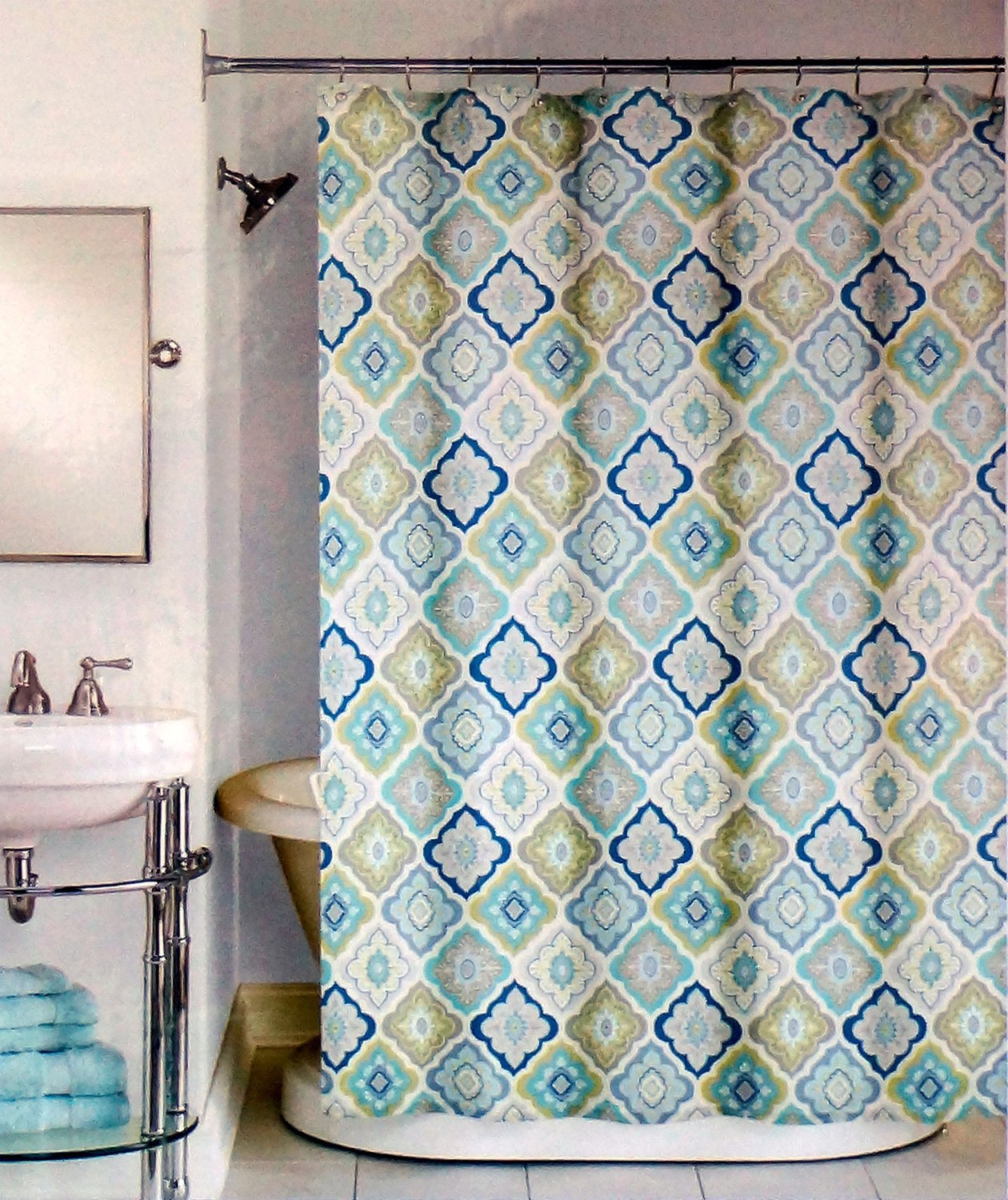 Amazon Peri Lilian Tile Fabric Shower Curtain In Shades Of Aqua Navy Taupe Olive Green White Home Kitchen