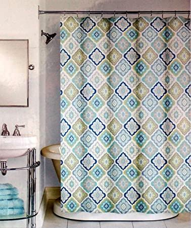 Amazon Com Peri Lilian Tile Fabric Shower Curtain In Shades Of