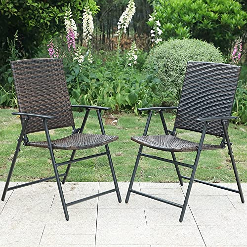 PHI VILLA Patio Rattan Folding Chair Indoor Outdoor Wicker Chair