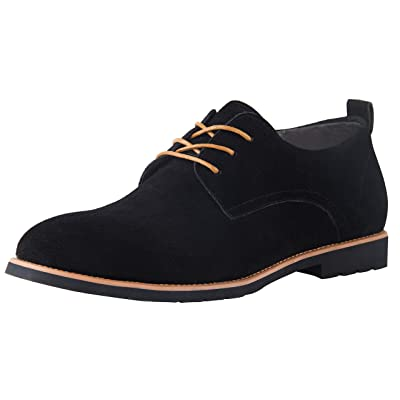 iloveSIA Men's Classic Dress Oxford Suede Leather Formal Shoe Black | Oxfords