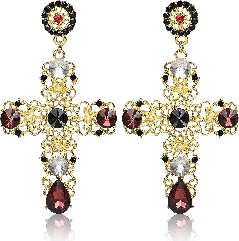 Big Cross Earrings,Color Crystal Baroque Drop Dangle Earrings for Women Teens Girls Bar Party Gifts