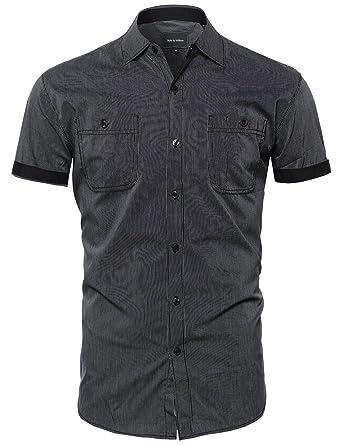 Amazon.com: SBW Men's Casual Versatile Button-Collar Down Short ...