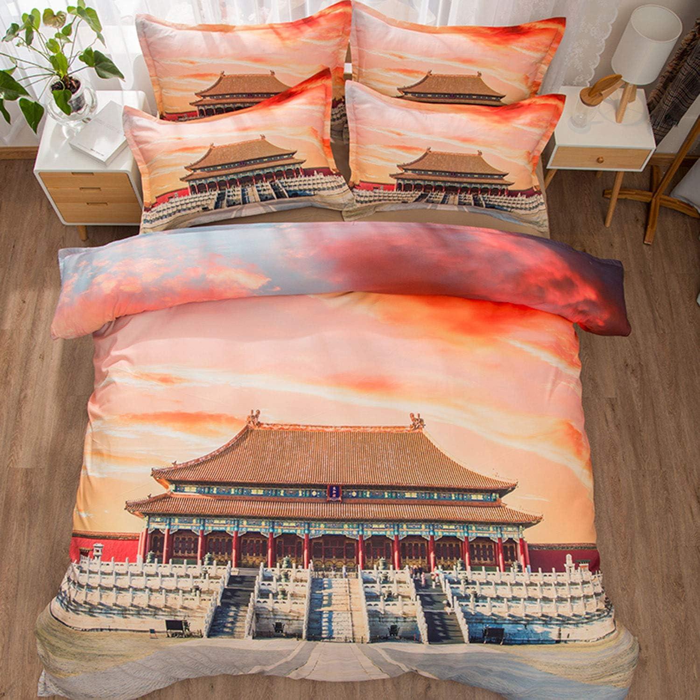 Felu Bedding Microfiber Duvet Cover Set of Kids, 3D Beijing Forbidden City Pattern Comforter Cover Set with 1 Duvet Cover and 2 Pillowcases (Queen Size)