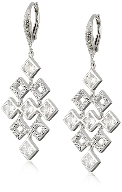 Elements Marcasite Chandelier Drop Earrings - Silver/Black S DRr35p3
