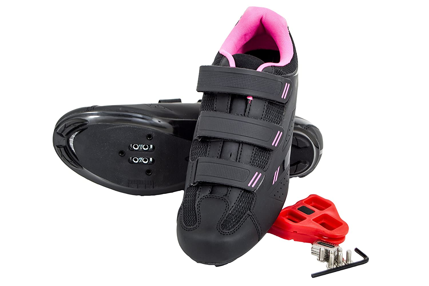 Tommaso Pista 100 Women's Spin Class Ready Cycling Shoe with Compatable Cleat - Black/Pink B076T879VB 41 EU/ 10 US W|Look Delta
